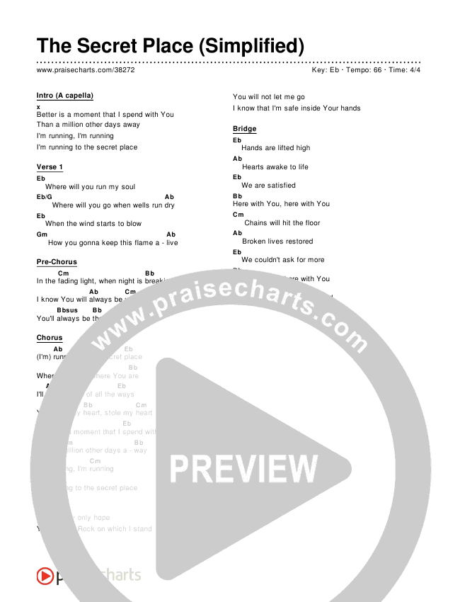 The Secret Place (Simplified) Chords & Lyrics ()