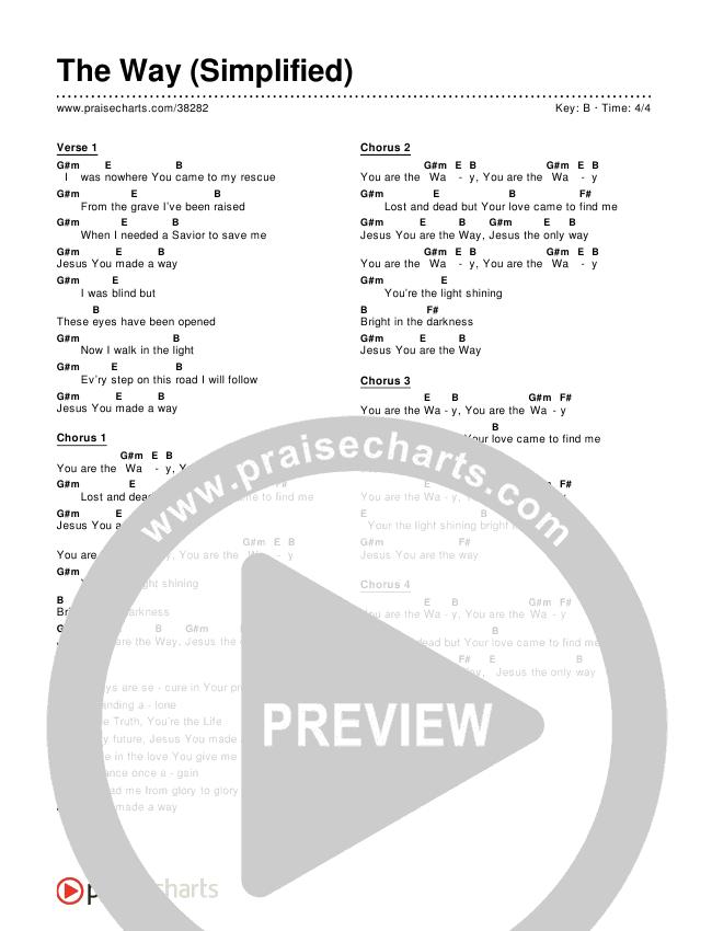 The Way (Simplified) Chords & Lyrics ()