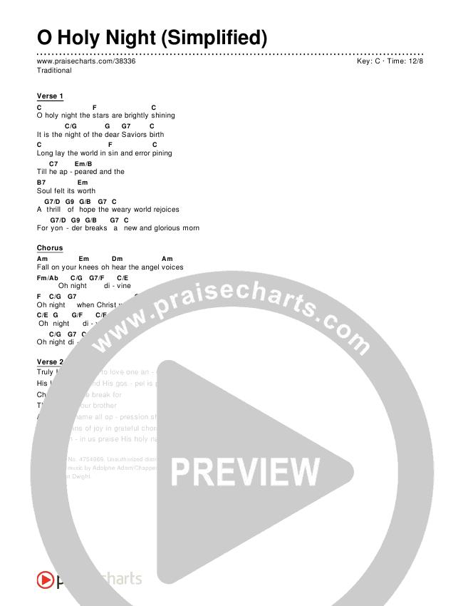 O Holy Night (Simplified) Chords & Lyrics (Traditional Carol)