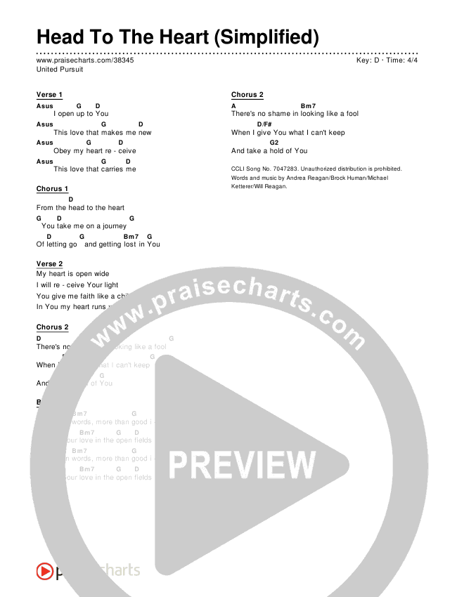 Head To The Heart (Simplified) Chords & Lyrics ()