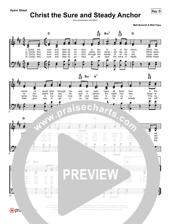 Christ The Sure And Steady Anchor (Simplified) Hymn Sheet ()