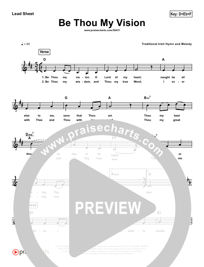 Be Thou My Vision (Simplified) Lead Sheet (PraiseCharts Band)