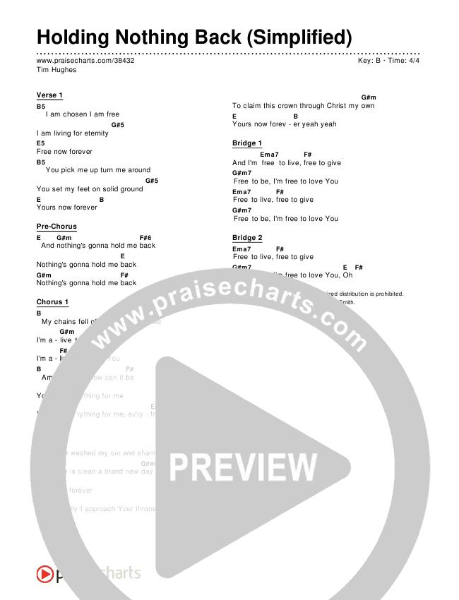 Holding Nothing Back (Simplified) Chords & Lyrics ()