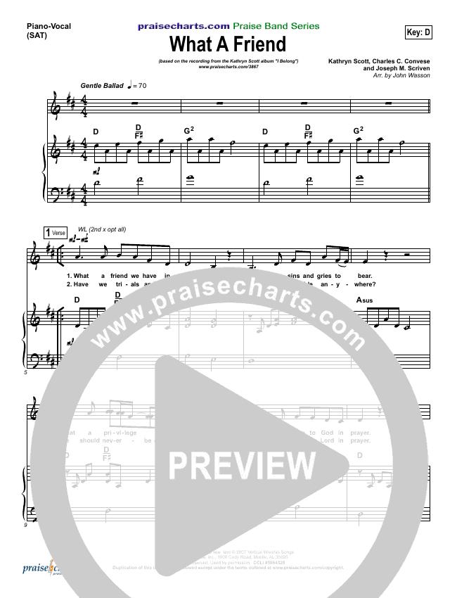 What A Friend Piano/Vocal (SATB) (Kathryn Scott)