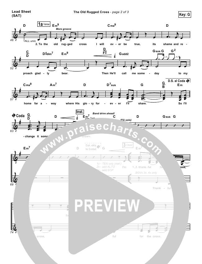 The Old Rugged Cross Lead Sheet & Piano/Vocal - PraiseCharts Band ...
