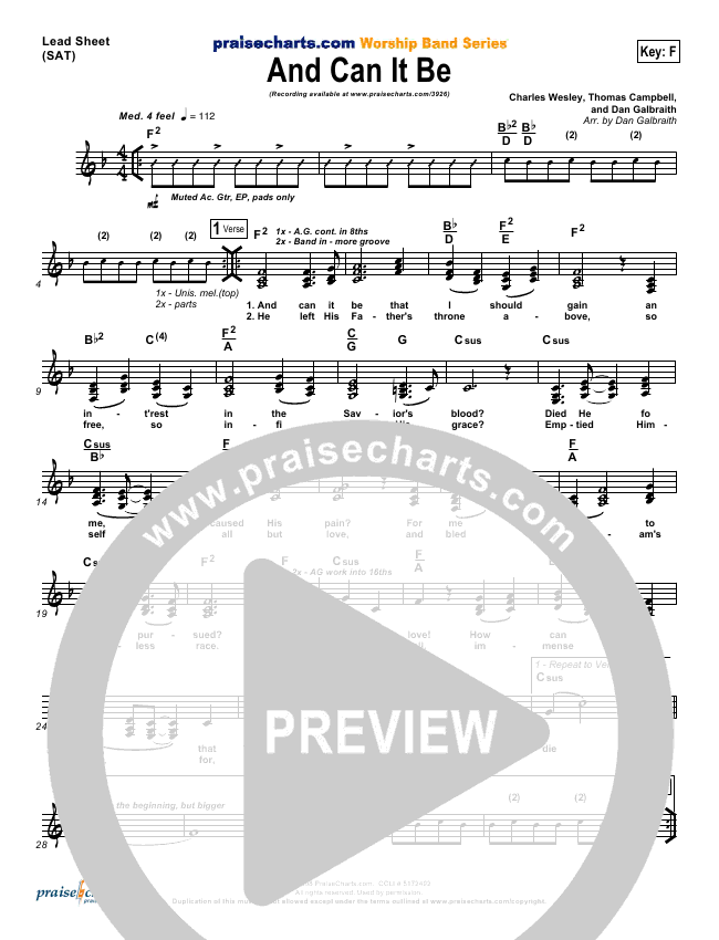 And Can It Be Lead & Piano/Vocal (PraiseCharts Band / Arr. Dan Galbraith)