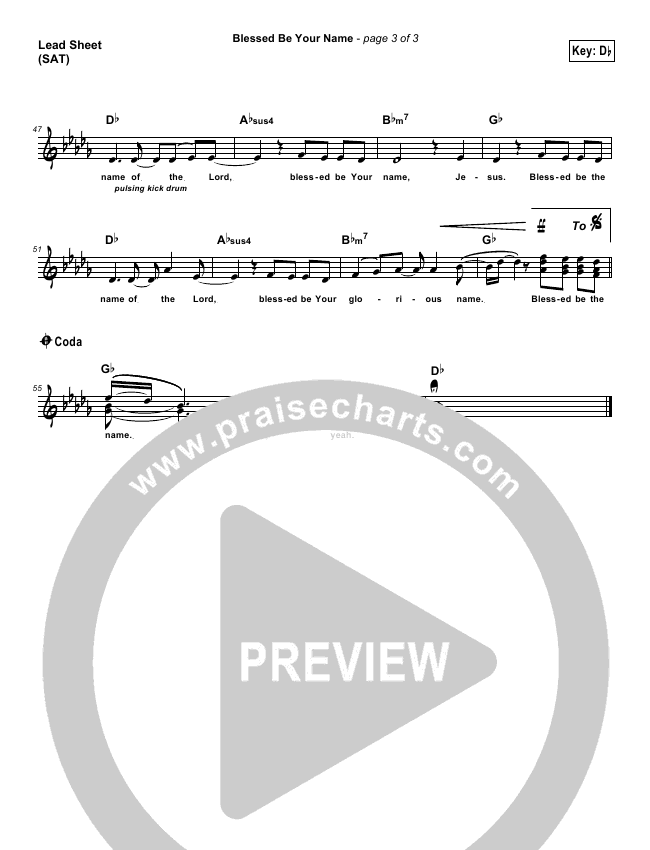 Blessed Be Your Name Lead Sheet (Tree63)