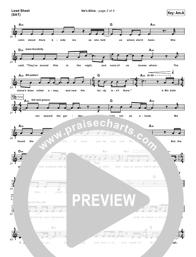 He's Alive Lead Sheet (Don Francisco)