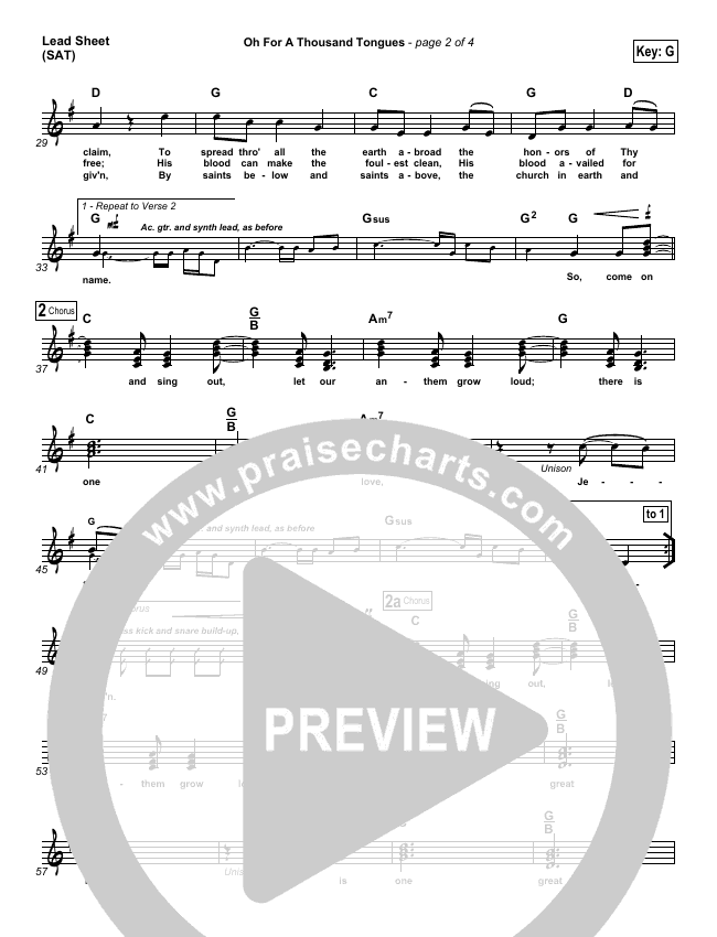 Oh For A Thousand Tongues To Sing Lead Sheet (SAT) (David Crowder)