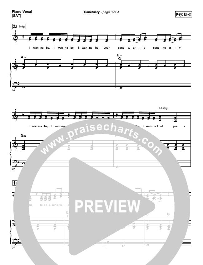 Sanctuary Piano/Vocal (SATB) (Jaci Velasquez)