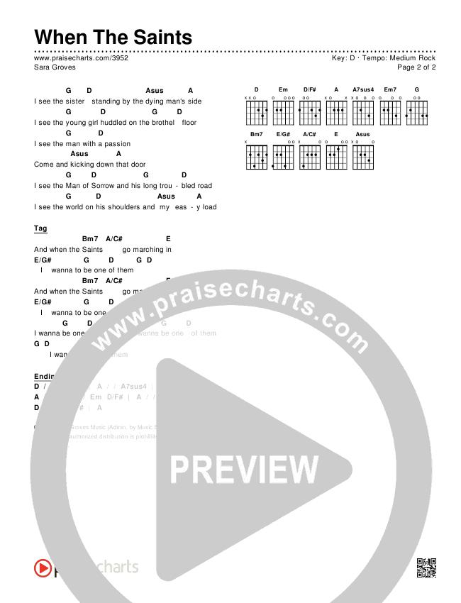 When The Saints Chords & Lyrics (Sara Groves)