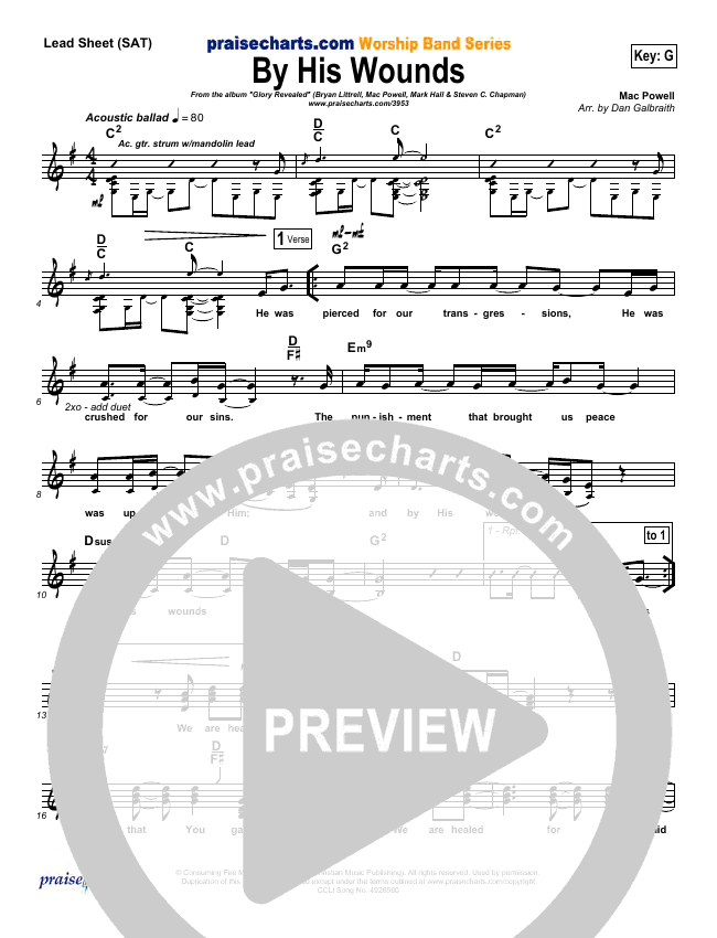 By His Wounds Lead Sheet (SAT) (Brian Littrell)
