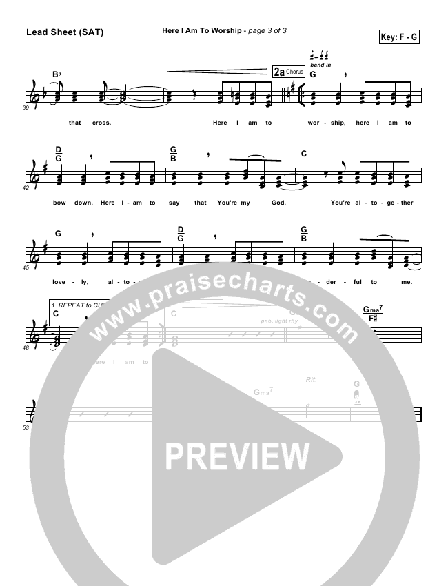 Here I Am To Worship Lead Sheet (Phillips Craig & Dean)