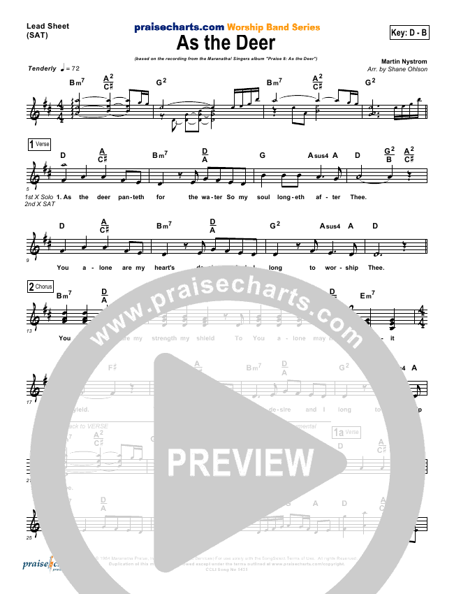 As The Deer Lead Sheet (Martin Nystrom)