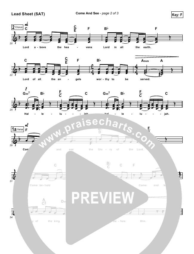 Come And See Lead Sheet (Maranatha Praise Band)