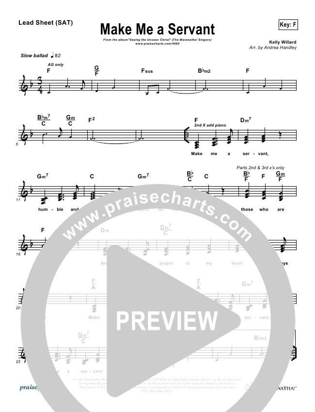 Make Me A Servant Lead Sheet (Maranatha Singers)