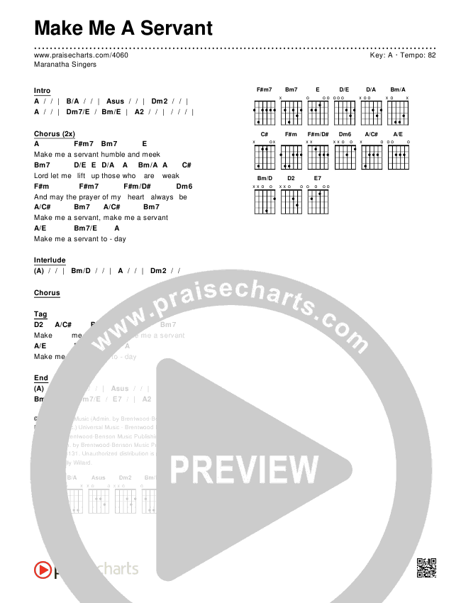 Make Me A Servant Chords & Lyrics (Maranatha Singers)