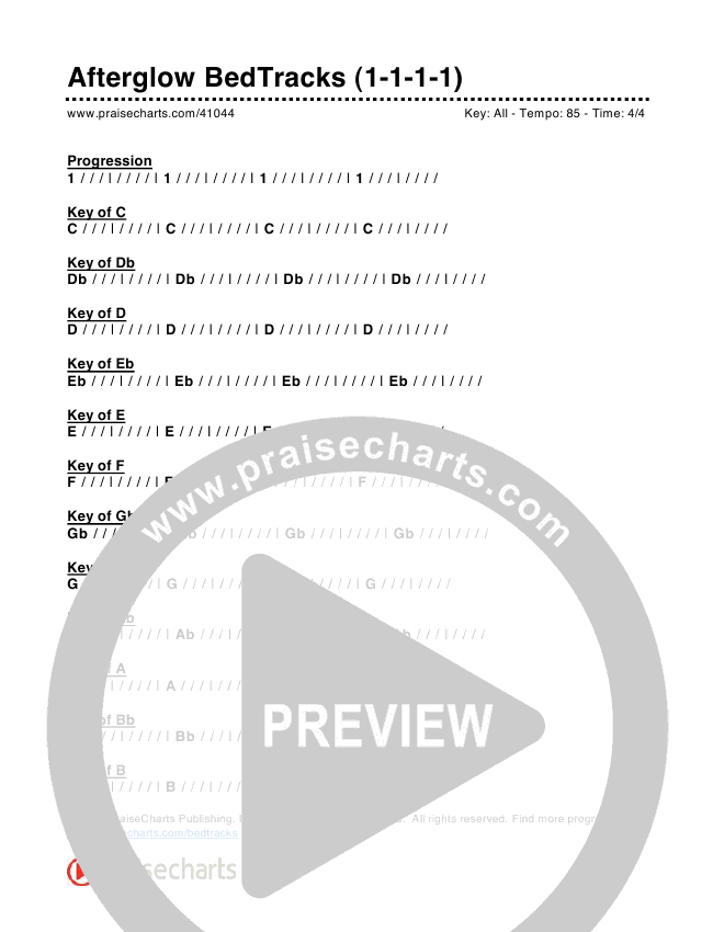 Afterglow Bed Tracks (1-1-1-1) Chords & Lyrics (PraiseCharts)