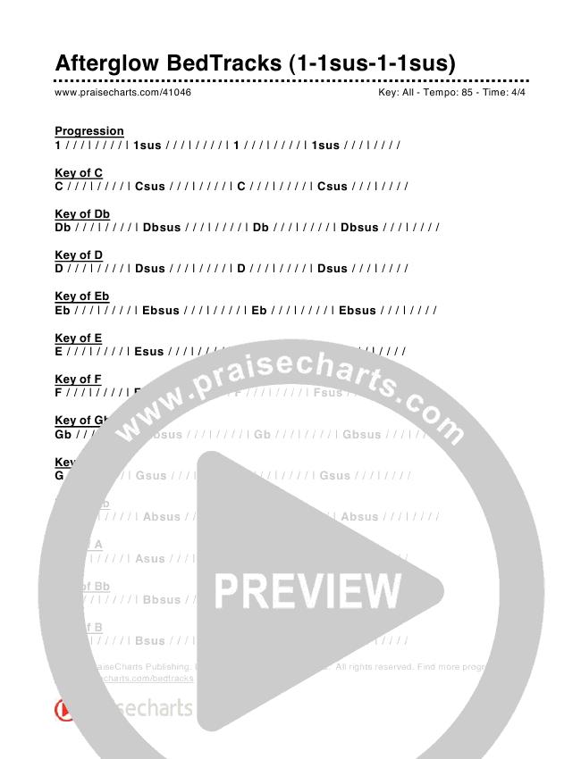 Afterglow Bed Tracks (1-1sus-1-1sus) Chords & Lyrics (PraiseCharts)