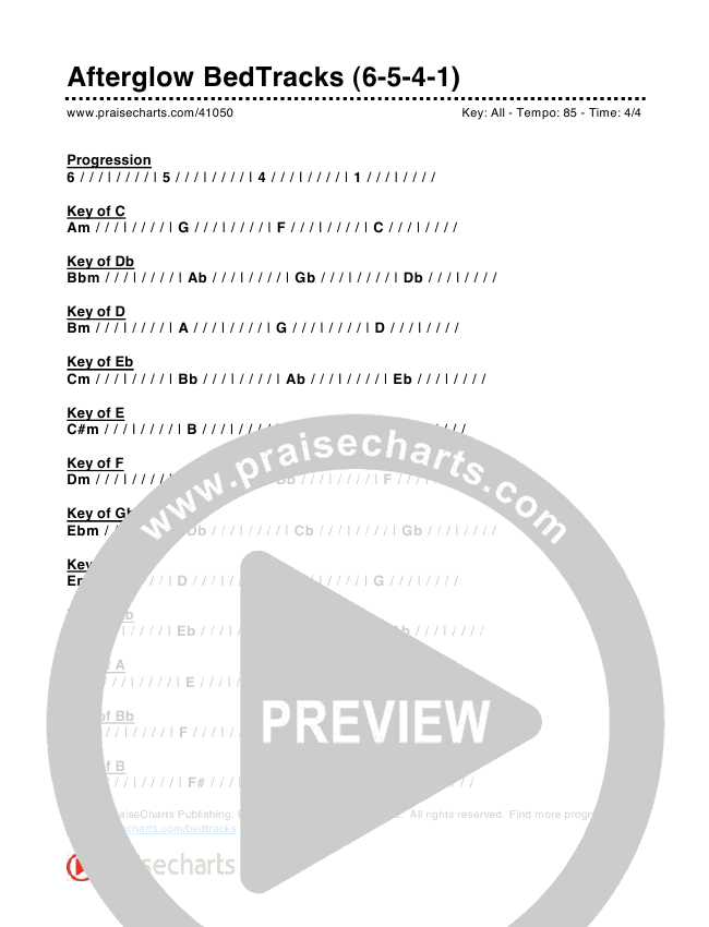 Afterglow Bed Tracks (6-5-4-1) Chord Chart (PraiseCharts)