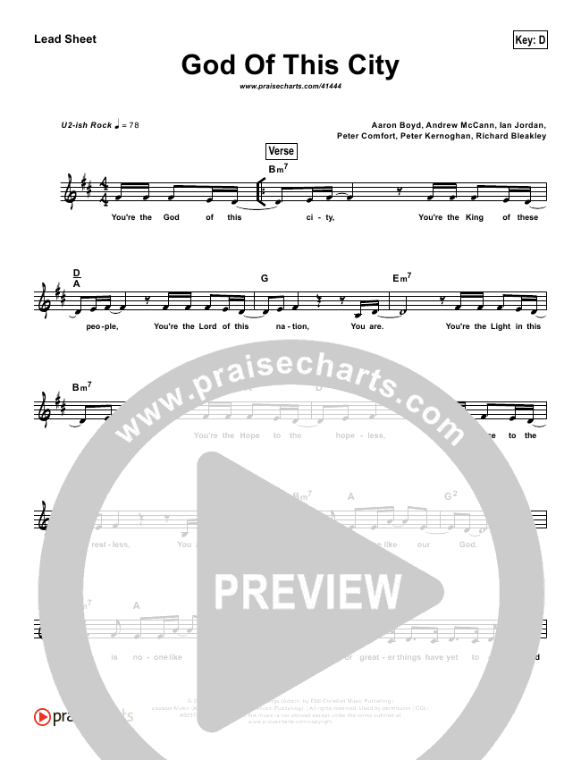 God Of This City (Simplified) Lead Sheet ()