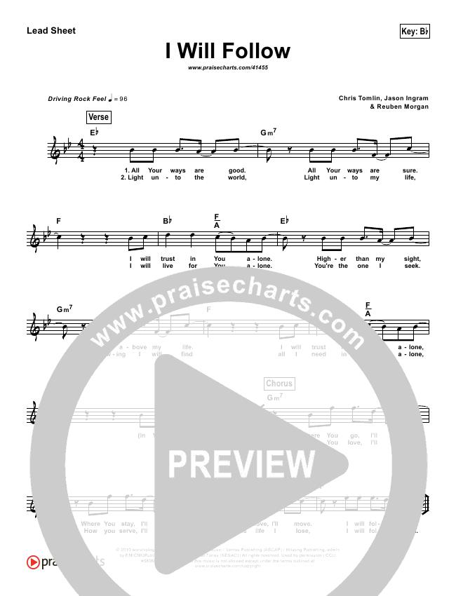 I Will Follow (Simplified) Lead Sheet ()