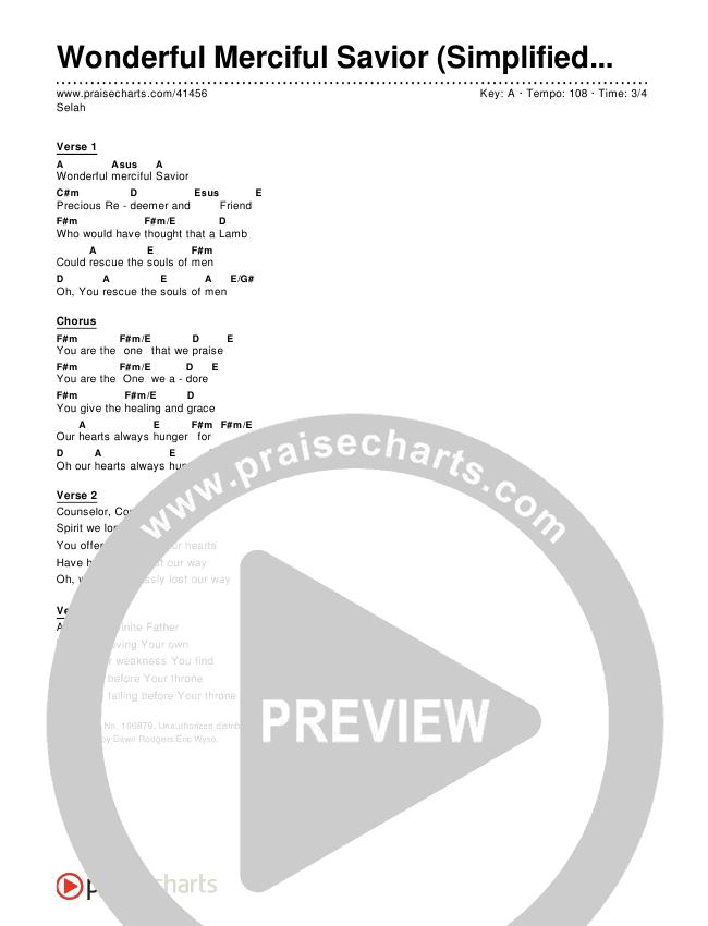 Wonderful Merciful Savior (Simplified) Chords & Lyrics ()