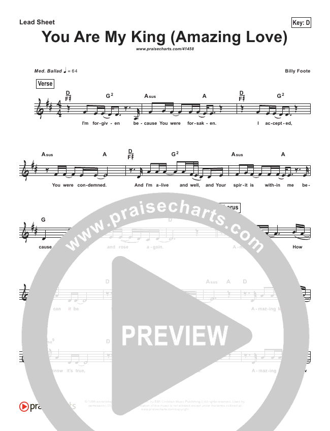 You Are My King (Simplified) Lead Sheet ()