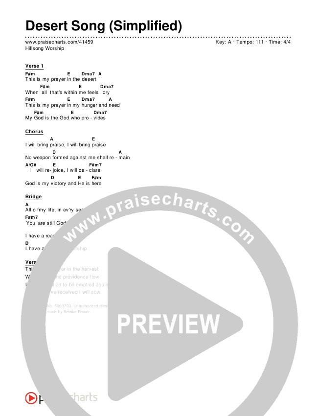 Desert Song (Simplified) Chord Chart ()