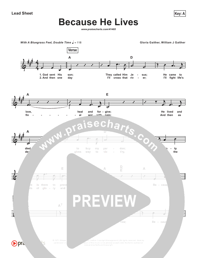 Because He Lives (Simplified) Lead Sheet (Bill Gaither)