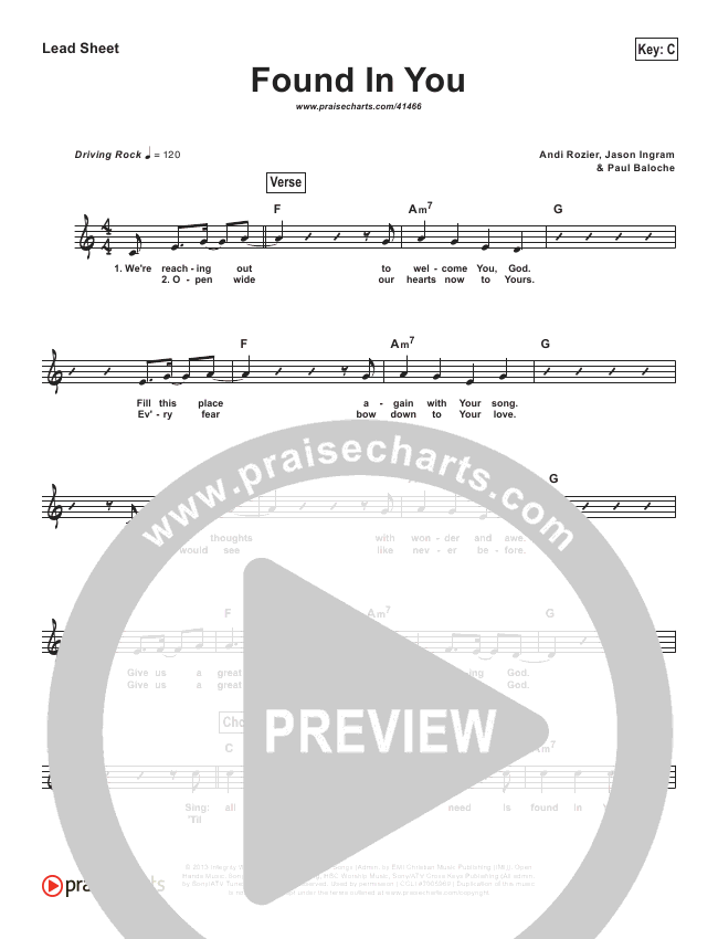 Found In You (Simplified) Lead Sheet (Vertical Worship)