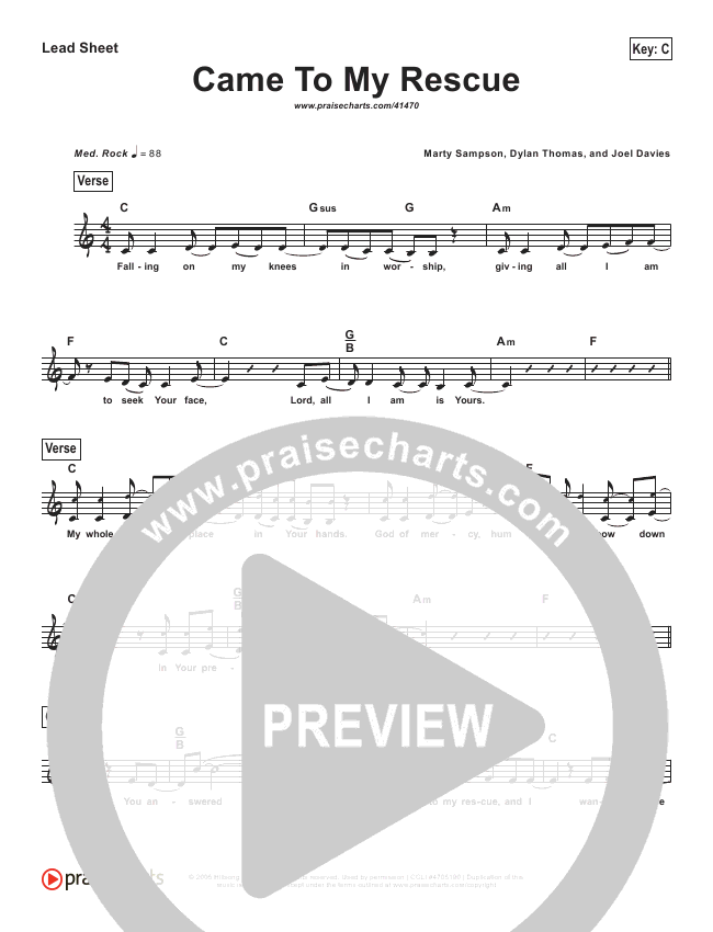 Came To My Rescue (Simplified) Lead Sheet ()