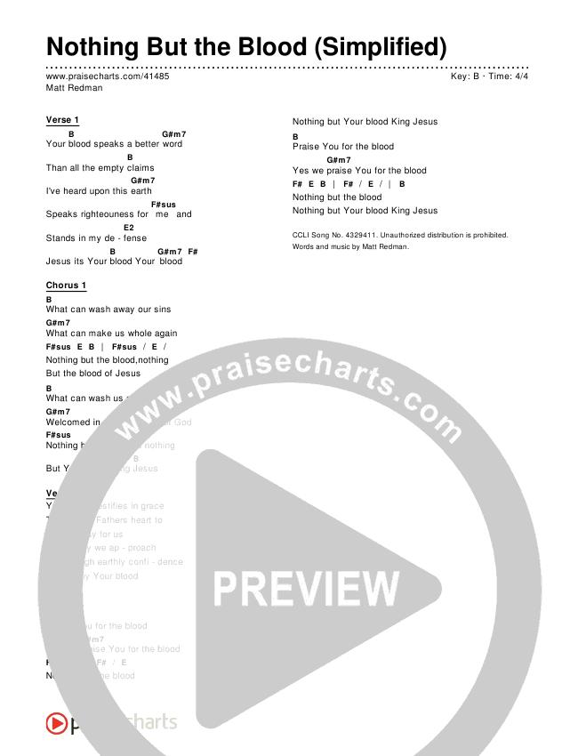 Nothing But The Blood (Simplified) Chord Chart (Matt Redman)