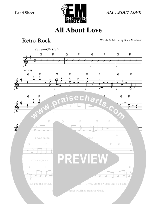 All About Love Lead Sheet (Rick Muchow)
