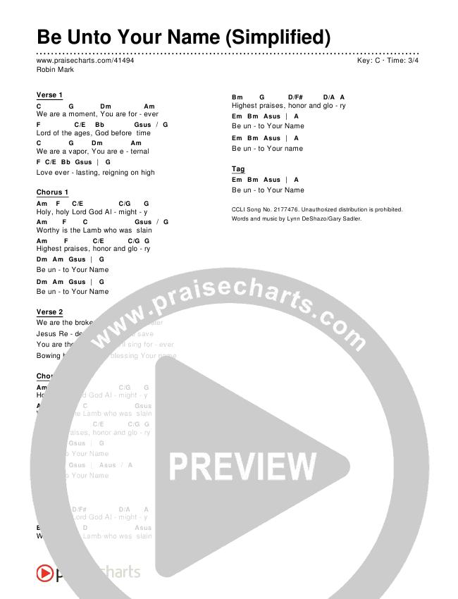 Be Unto Your Name (Simplified) Chords & Lyrics ()