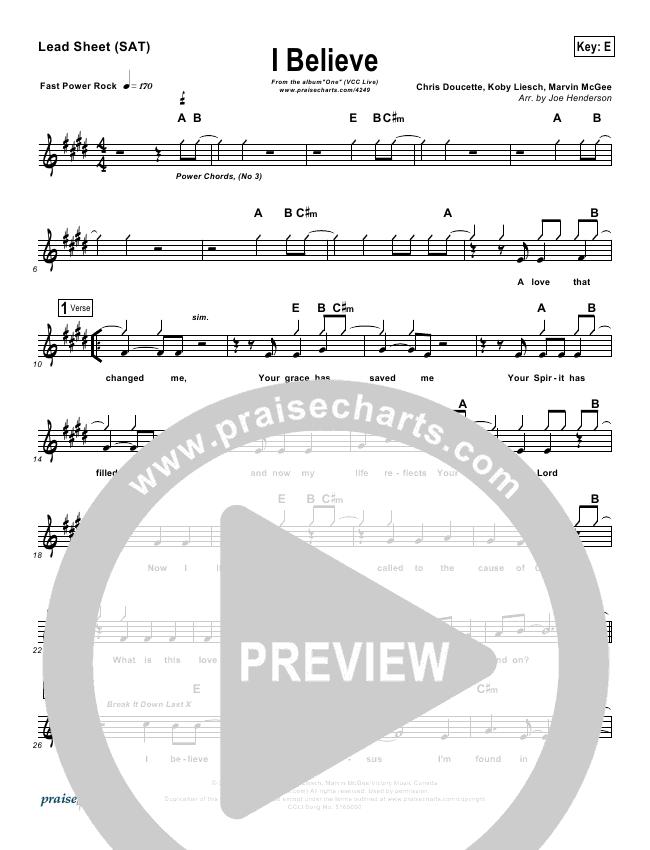 I Believe Lead Sheet (VCC Live / Relate Church)