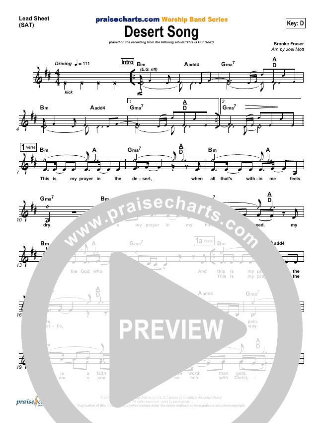 Desert Song Lead Sheet (SAT) (Hillsong Worship)