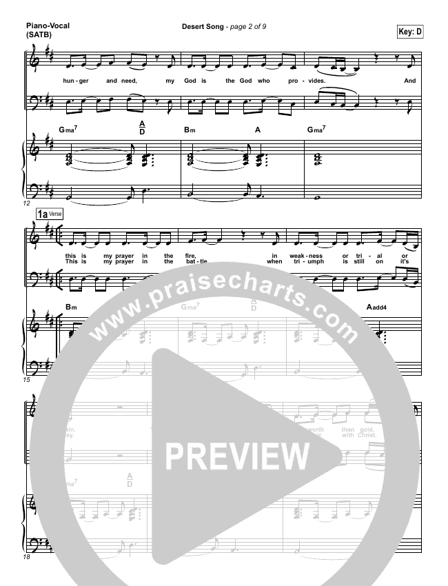 Desert Song Piano/Vocal (SATB) (Hillsong Worship)