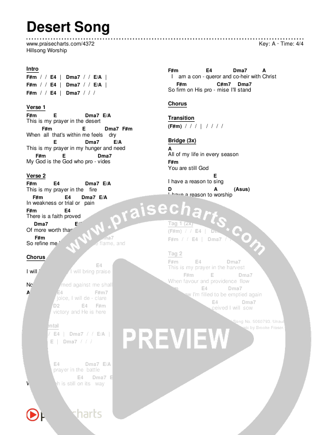 Desert Song Chords & Lyrics (Hillsong Worship)