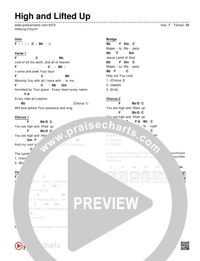High And Lifted Up (Instrumental) Chords & Lyrics (Hillsong Worship)