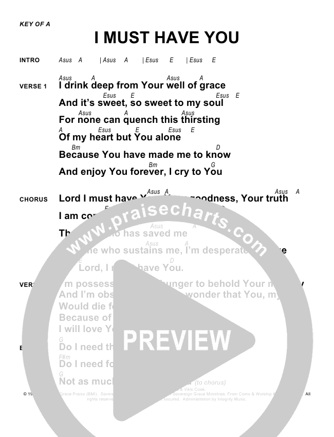 I Must Have You Chords - Sovereign Grace | PraiseCharts