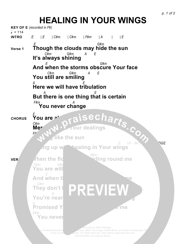 Healing In Your Wings Chords Sovereign Grace Praisecharts