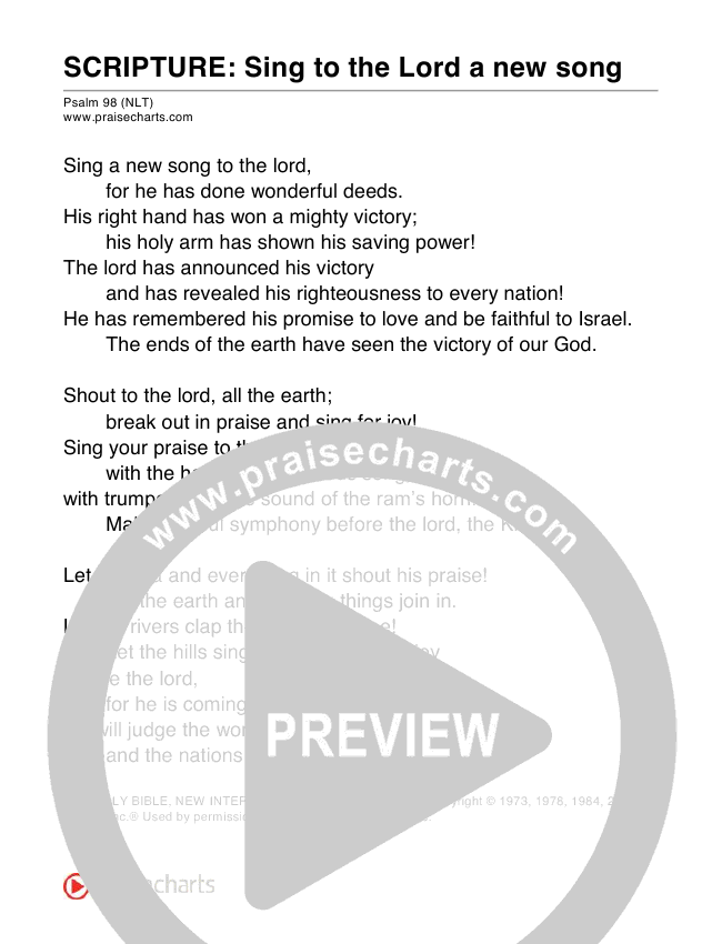 sing to the lord a new song (psalm 98) sheet music pdf (scripture) -  praisecharts  praisecharts