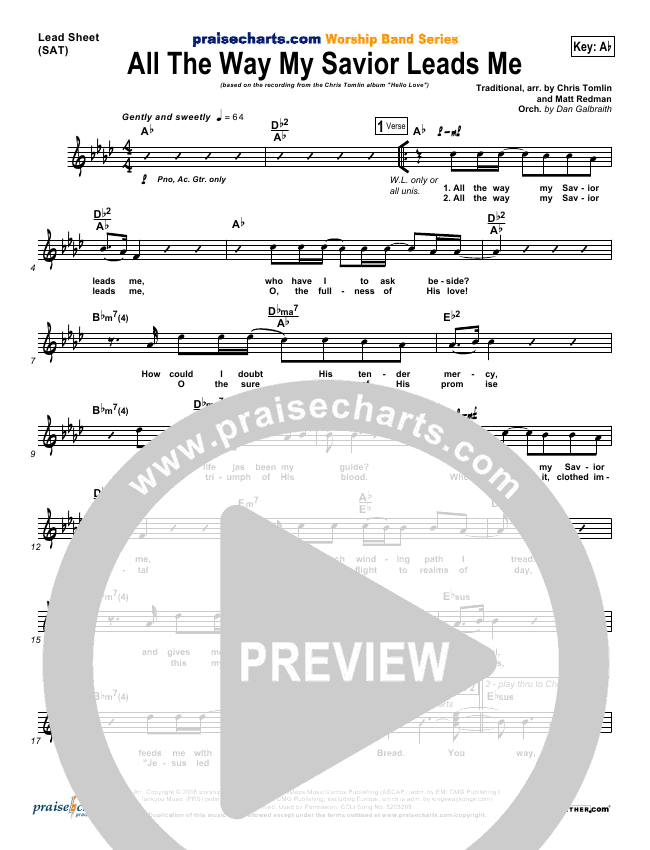 All The Way My Savior Leads Me Lead & Piano/Vocal (Chris Tomlin)