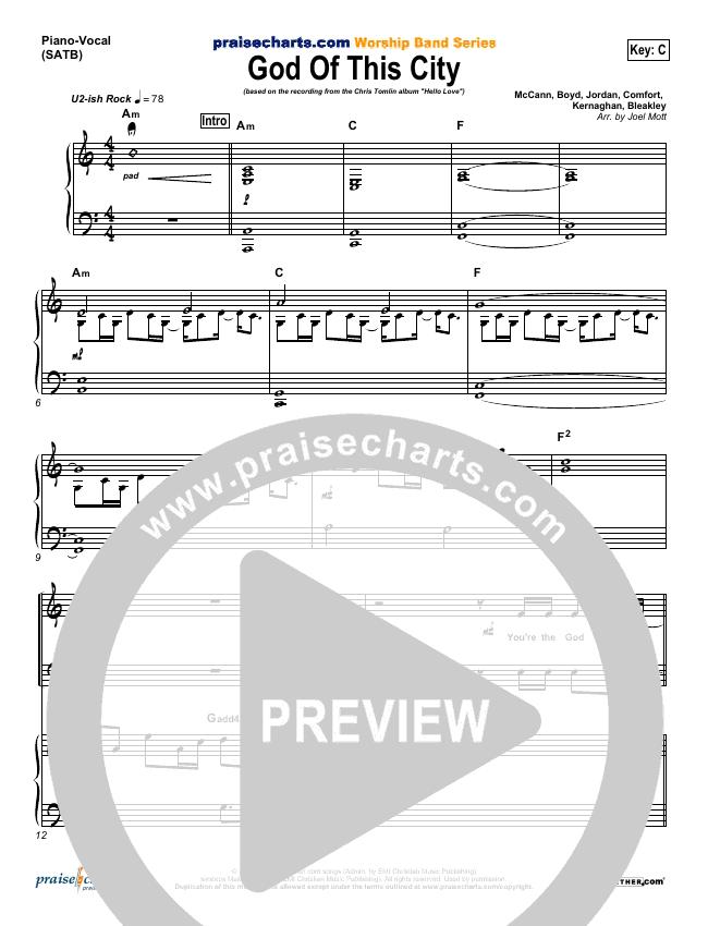 God Of This City Piano/Vocal (SATB) (Chris Tomlin)