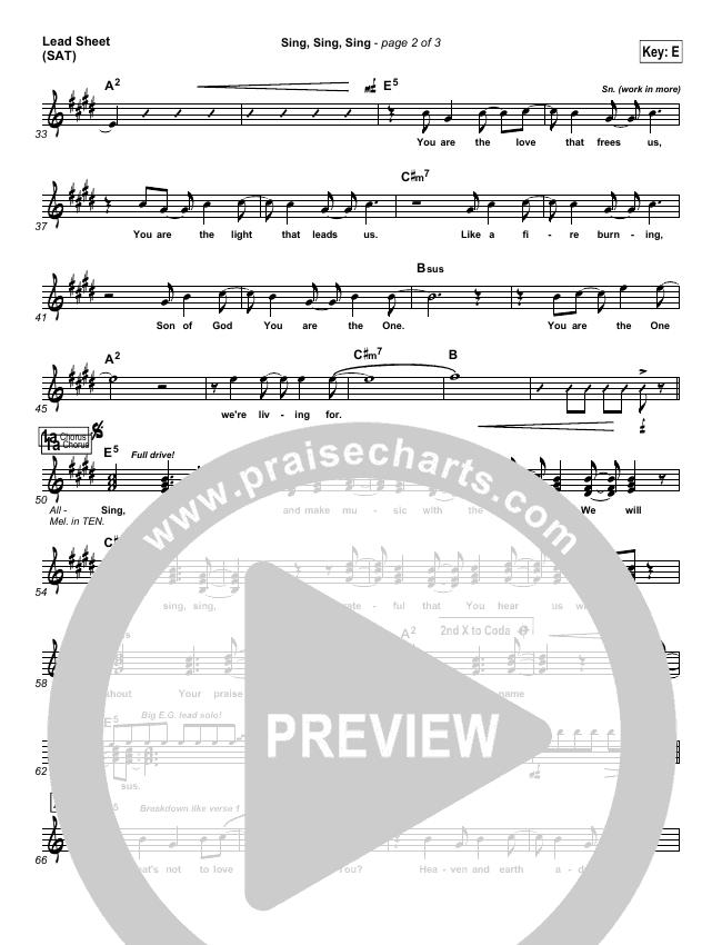 Sing Sing Sing Lead Sheet (SAT) (Chris Tomlin)