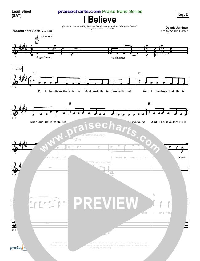 I Believe Lead & Piano (Dennis Jernigan)