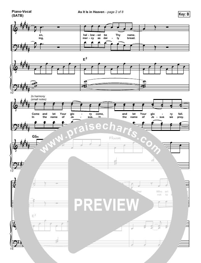 As It Is In Heaven Piano/Vocal (SATB) (Matt Maher)