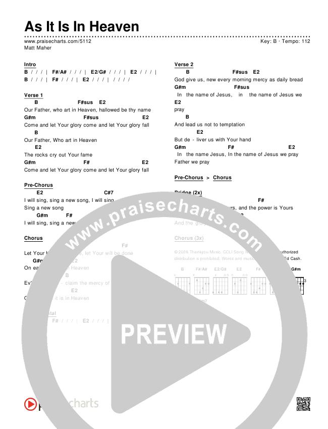 As It Is In Heaven Chords & Lyrics (Matt Maher)