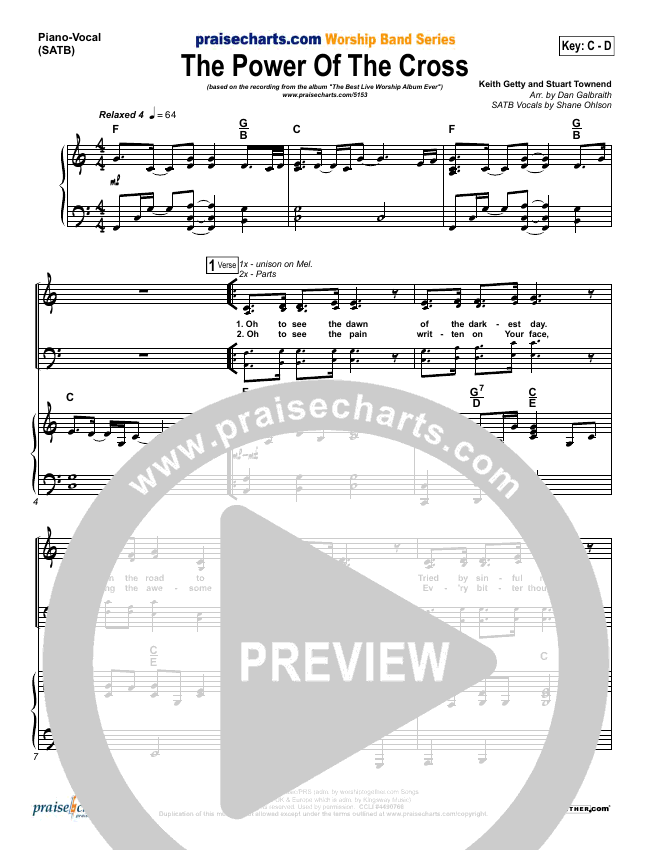 The Power Of The Cross (Oh To See The Dawn) Piano/Vocal (SATB) (Stuart Townend)